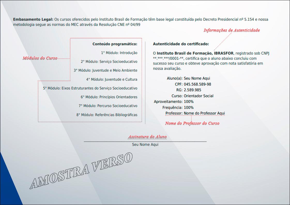 Modelo certificado de conclusão de curso do Instituto Brasil de Formação